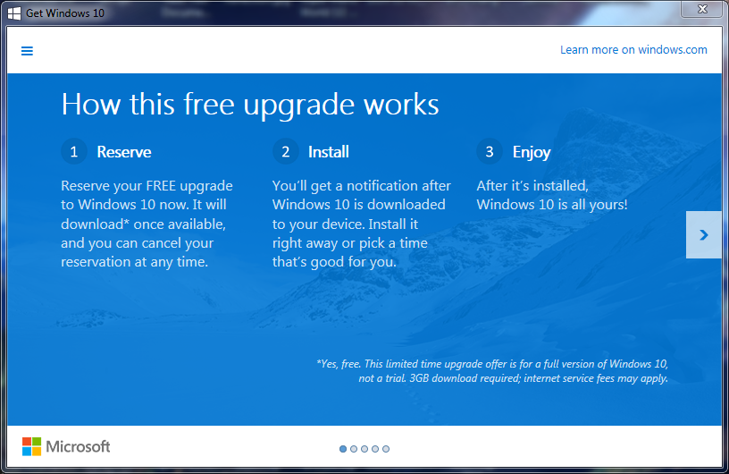 Eliminare notifica Ottieni Windows 10