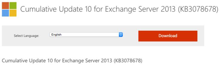 Microsoft Exchange Server 2013  CU10 il computer deve essere riavviato per completare