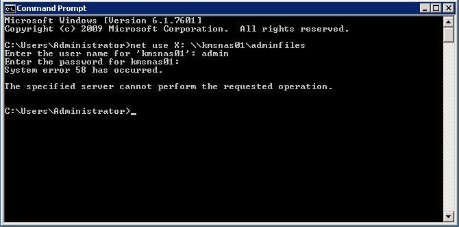 System error 58,quando si tenda di accedere ad una shares di rete su Windows 7 da XP