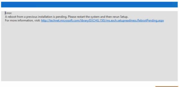 Exchange – Il sistema è in attesa di un riavvio per una precedente installazioneExchange – A Restart from a Previous Installation is Pending
